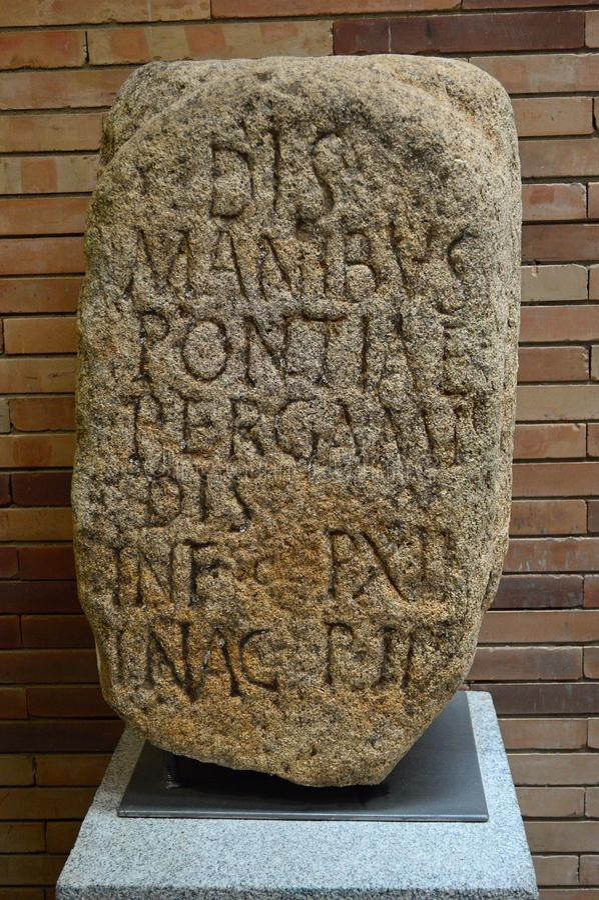 Inscribed stone at the main roman hall, Roman Museum, Museo Nacional de Arte Romano Merida, Spain stock photos