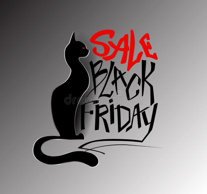 Inscripción Black Friday, venta con un gato negro en un estilo de papel ilustración del vector