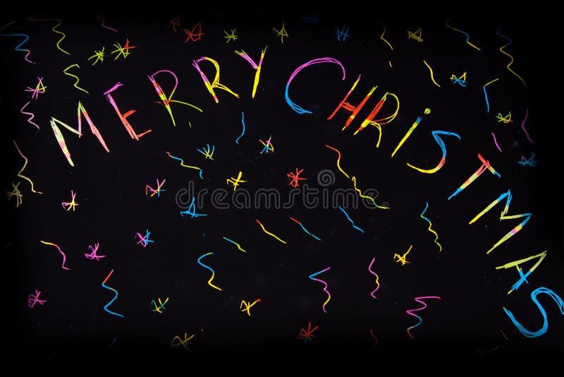 Inscripción chispeante de y x22; Feliz Christmas& x22; fotografía de archivo