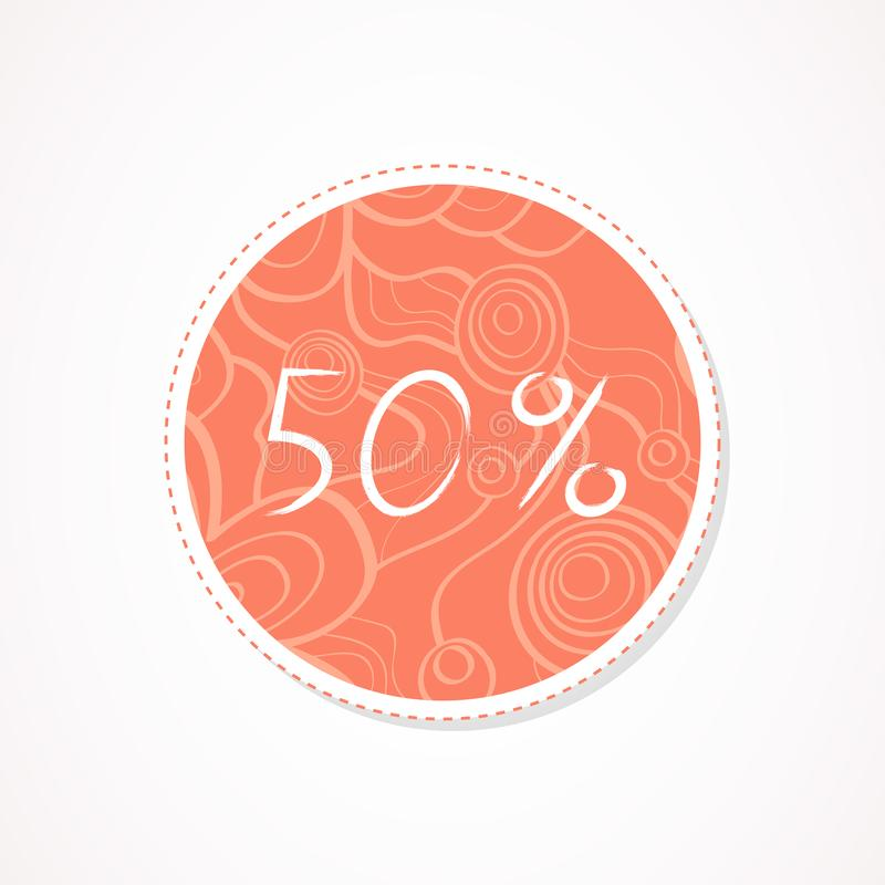 inscripción de 50 descuentos del por ciento en fondos redondos decorativos con el estampado de flores ilustración del vector