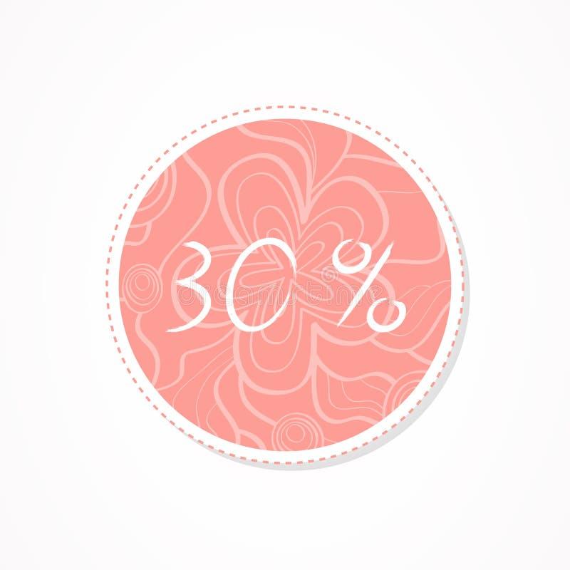 inscripción de 30 descuentos del por ciento en fondos redondos decorativos con el estampado de flores libre illustration
