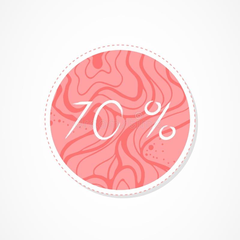 inscripción de 70 descuentos del por ciento en fondos redondos decorativos con el estampado de flores ilustración del vector