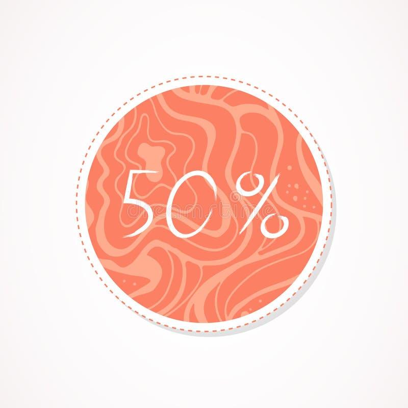inscripción de 50 descuentos del por ciento en fondos redondos decorativos con el estampado de flores stock de ilustración