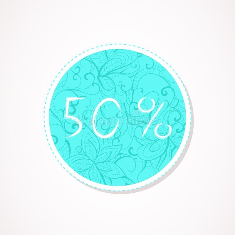 inscripción de 50 descuentos del por ciento en fondos redondos decorativos con el modelo abstracto stock de ilustración