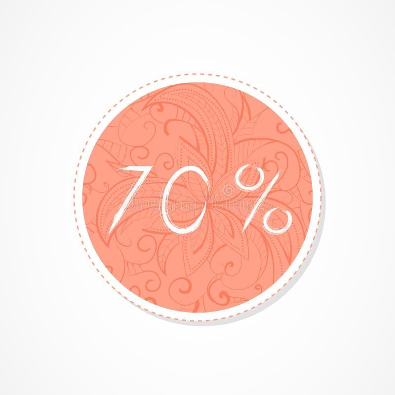 inscripción de 70 descuentos del por ciento en fondos redondos decorativos con el modelo abstracto ilustración del vector