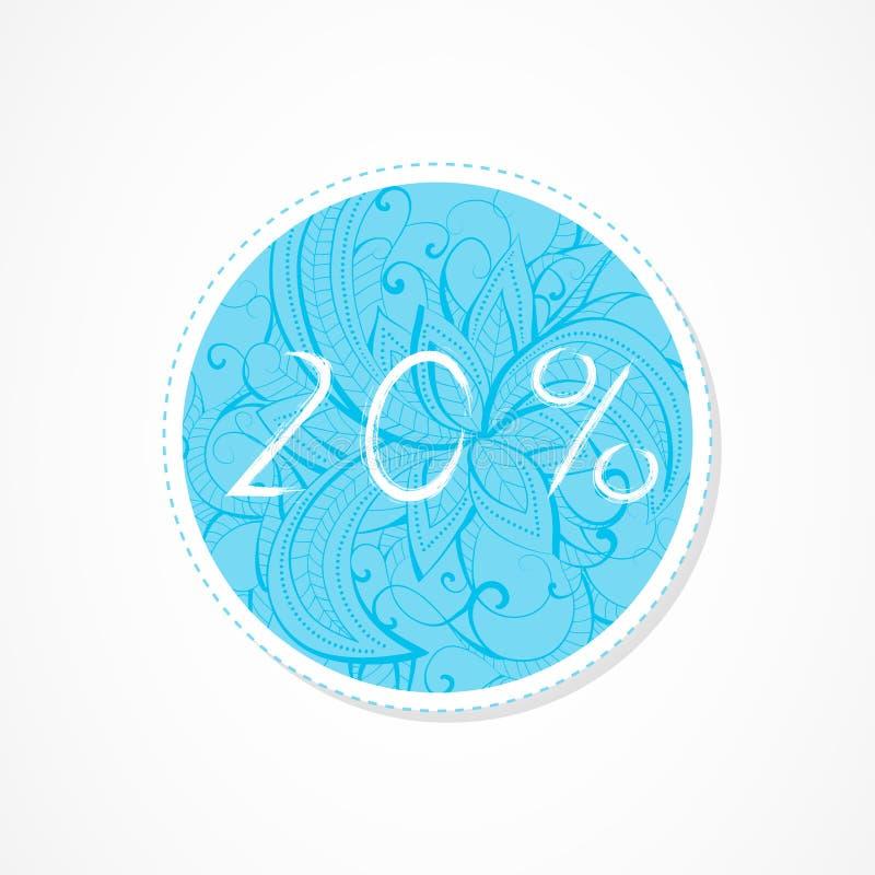 inscripción de 20 descuentos del por ciento en fondos redondos decorativos con el modelo abstracto stock de ilustración