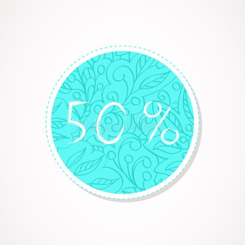 inscripción de 50 descuentos del por ciento en fondos redondos decorativos con el modelo abstracto libre illustration