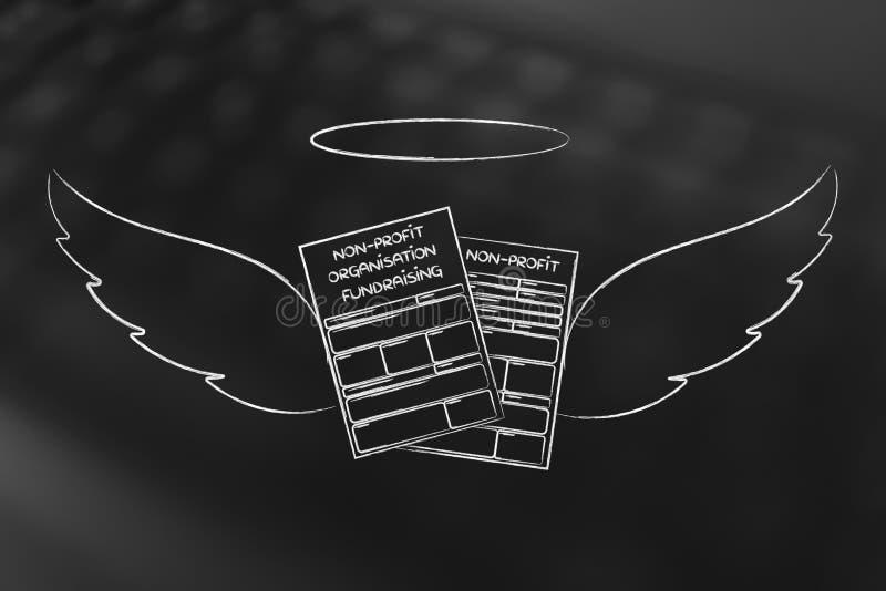 Inscripción de la organización sin ánimo de lucro o formas fundraising con el ange ilustración del vector