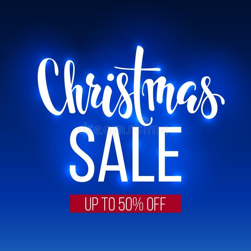 Inscripción de la venta de la Navidad en fondo azul bandera, cartel, leaflat, logotipo, venta de las vacaciones de invierno ilustración del vector