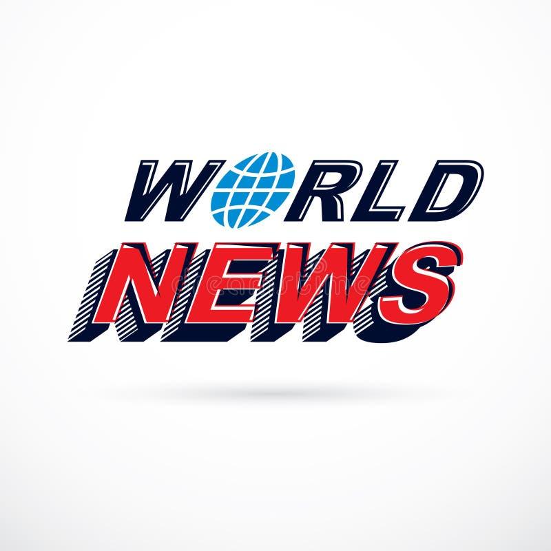 Inscripción de las noticias de mundo, ejemplo del vector Repo de las noticias y de los hechos stock de ilustración
