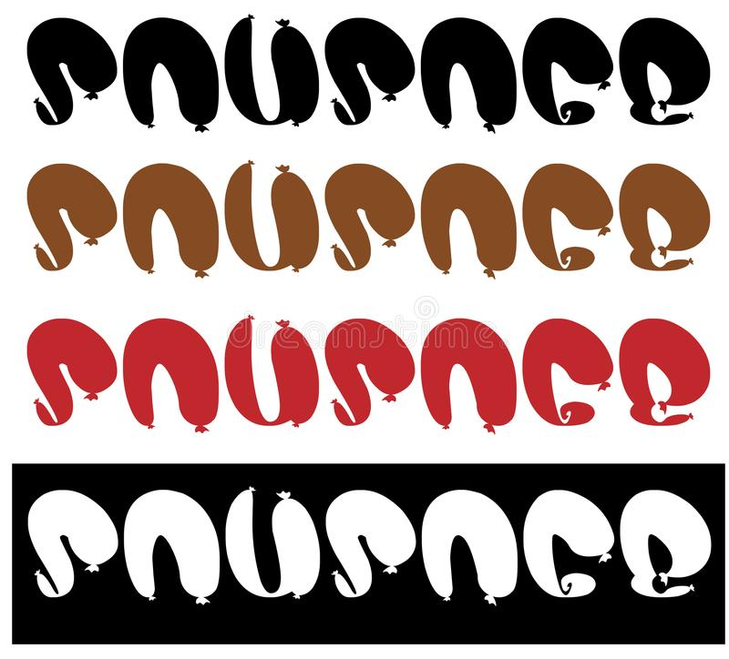 Inscripción de las salchichas, logotipo de la salchicha del texto, minimalismo ilustración del vector