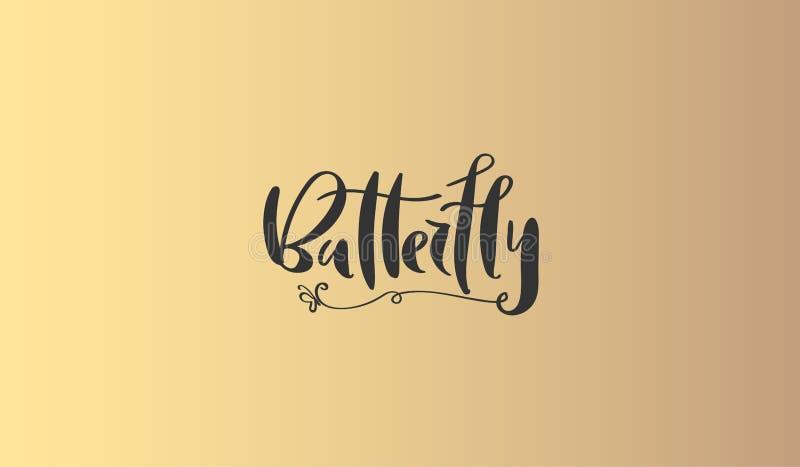 Inscripción del ` de la mariposa del ` de la caligrafía - diseño sofisticado del logotipo Diseños de la tarjeta de visita de los  ilustración del vector