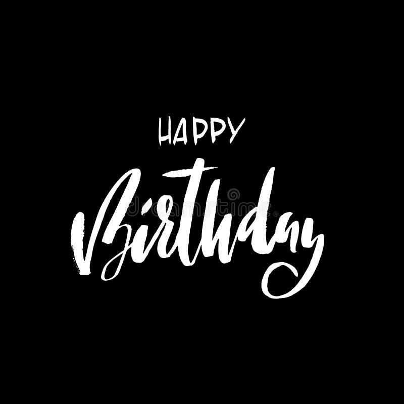 Inscripción del feliz cumpleaños Tarjeta de felicitación con caligrafía Diseño dibujado mano Ejemplo blanco y negro stock de ilustración