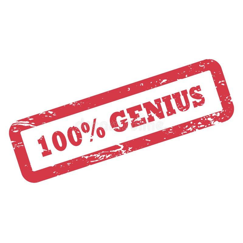 Inscripción del genio del 100 por ciento en marco del rectángulo Sello de goma rojo de la tinta con textura áspera libre illustration