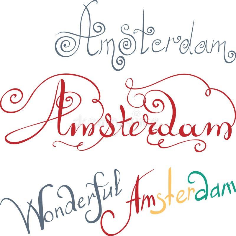 Inscripción escrita mano de Amsterdam del vector libre illustration