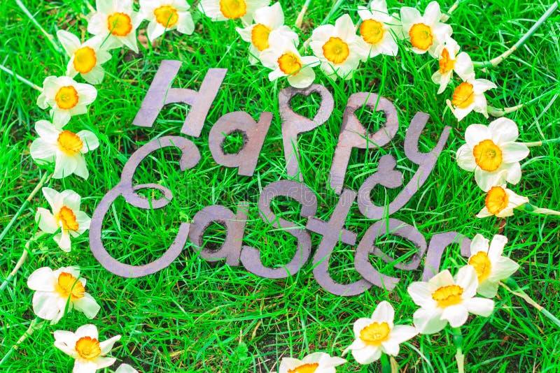 Inscripción feliz de Pascua imagen de archivo