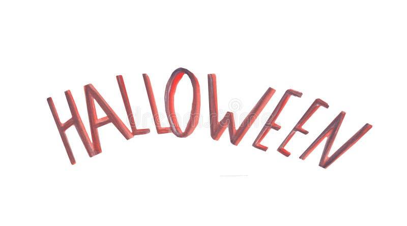 Inscripción Halloween de la acuarela en un fondo blanco stock de ilustración