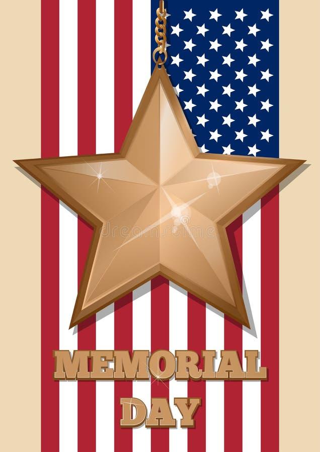 Inscripción - Memorial Day y estrella de oro ilustración del vector