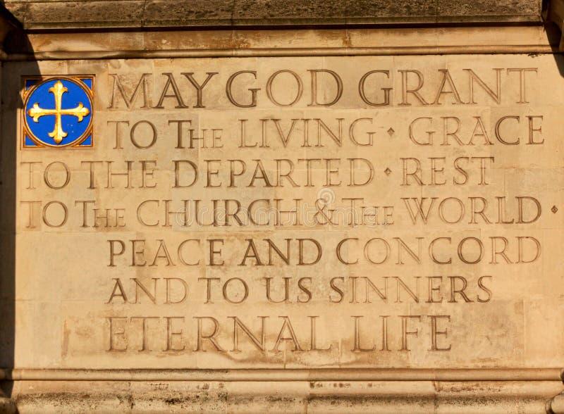 Inscripción - palacio de Westminster - Londres imagenes de archivo