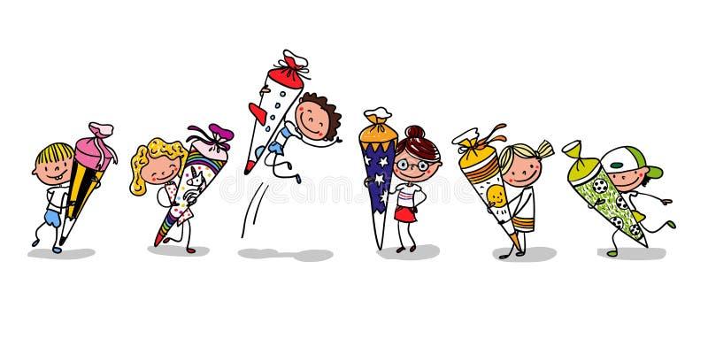 Inscripción - primer día de escuela - primeros graduadores alegres con los conos de la escuela - historieta exhausta de la mano c stock de ilustración