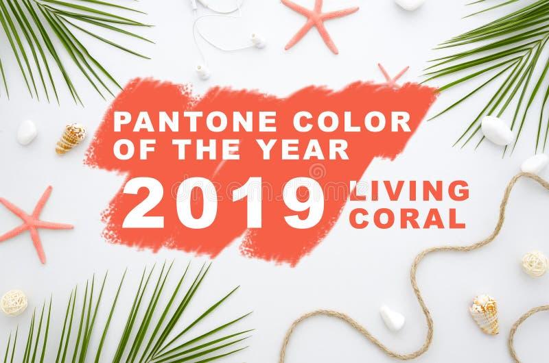 Inscripción que vive el color de Pantone del año 2019 16-1546 coralino vivo Color de moda del pantone del verano 2019 de la prima imagenes de archivo