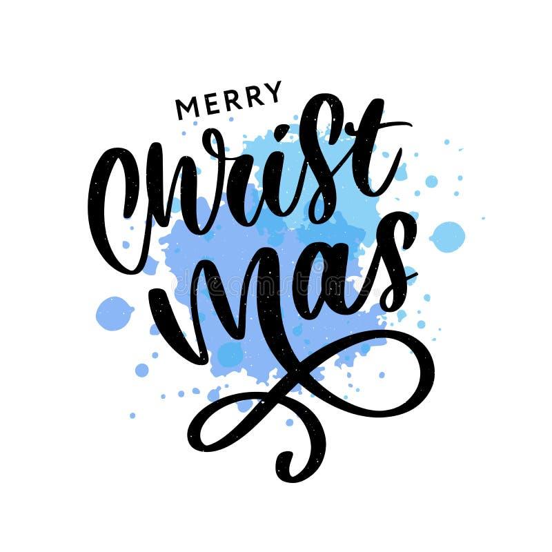 Inscripci?n caligr?fica de la Feliz Navidad adornada con las estrellas y las gotas de oro ilustración del vector