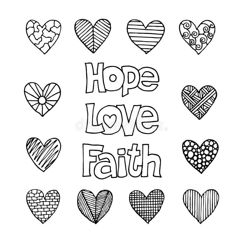 Inscripciones cristianas y corazones dibujados a mano Ejemplos e iconos bíblicos del vector libre illustration