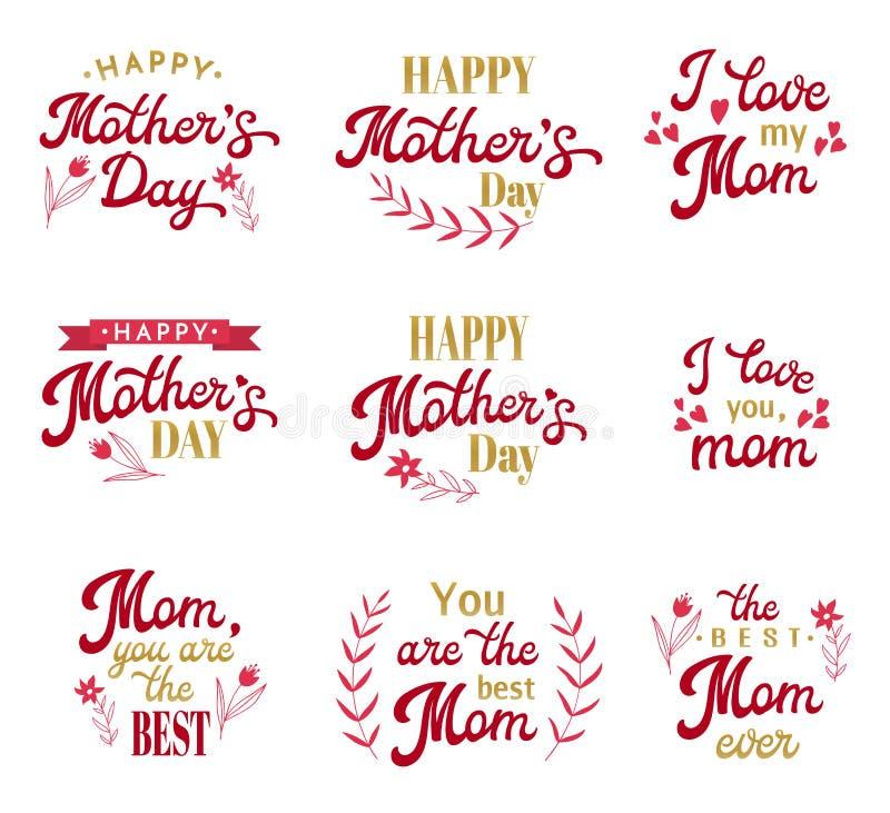 Inscripciones de las letras de la mano del día de madres fijadas libre illustration
