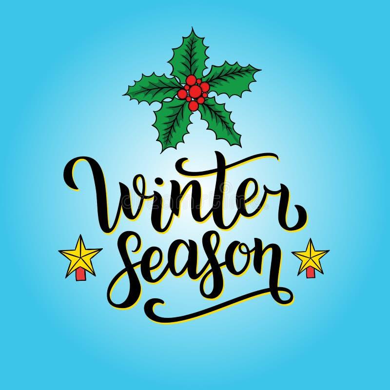 Inscription écrite par main de saison d'hiver avec d'isolement sur le fond abstrait bleu avec les flocons de neige et le houx de  illustration de vecteur