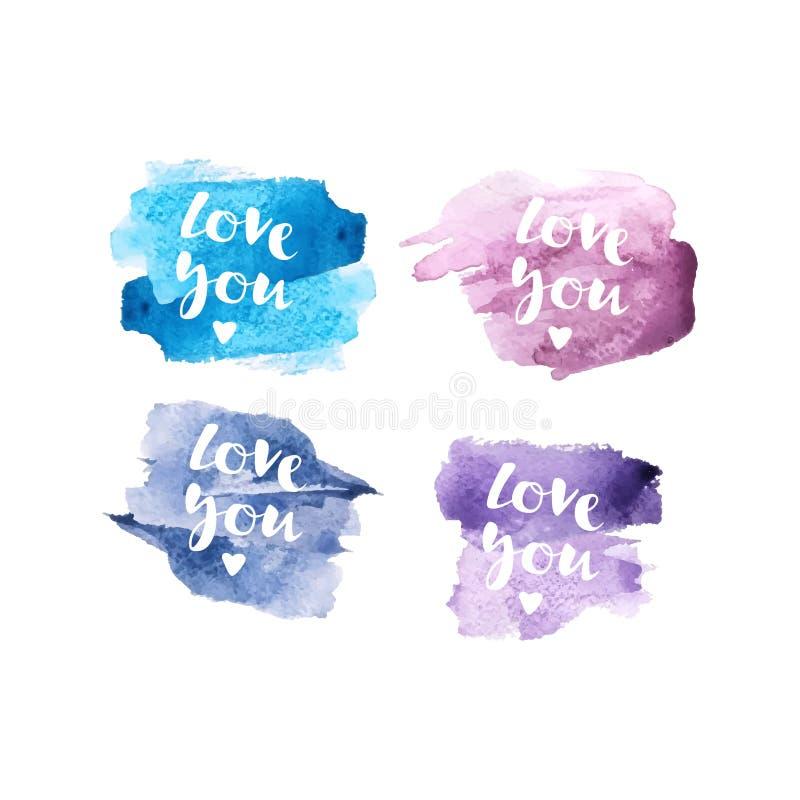"""Inscription """"amour vous """"avec le fond coloré de vecteur d'aquarelle Carte de voeux de jour de Valentines Confession d'amour avec  illustration stock"""