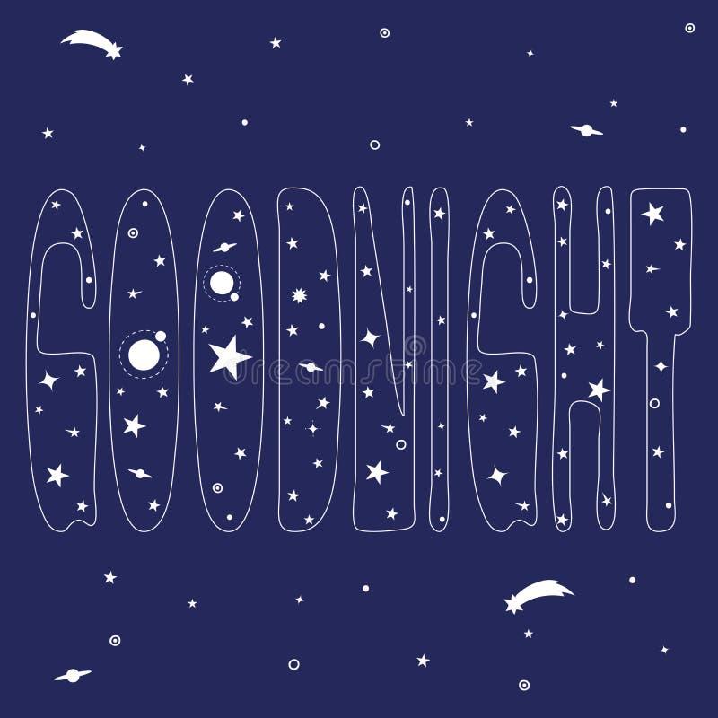 """Inscription """"bonne nuit """"et espace illustration libre de droits"""