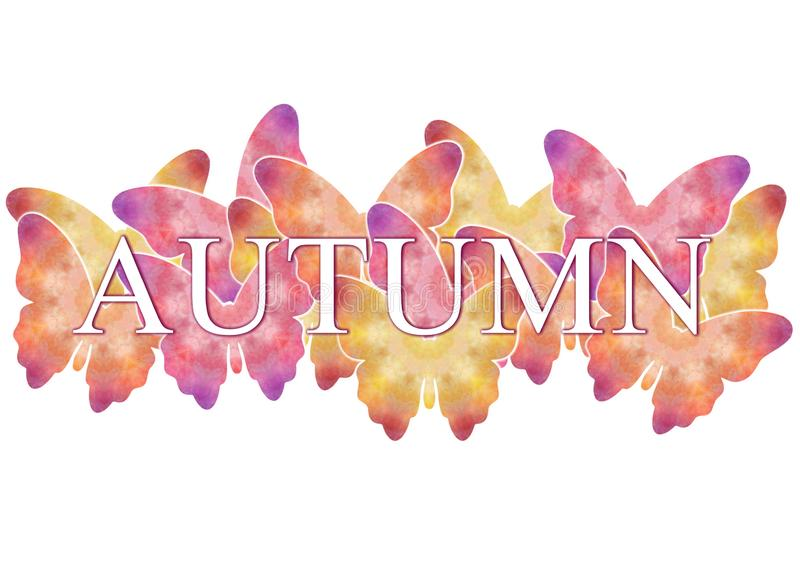 The inscription `Autumn` on a background with multi-colored butterflies. Banner for decoration, postcards and design. royalty free illustration