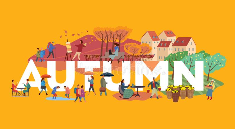 The inscription autumn and various plots. Children go to school, the artist draws a sketch, farmers harvest. Types of autumn activities of people around white stock illustration