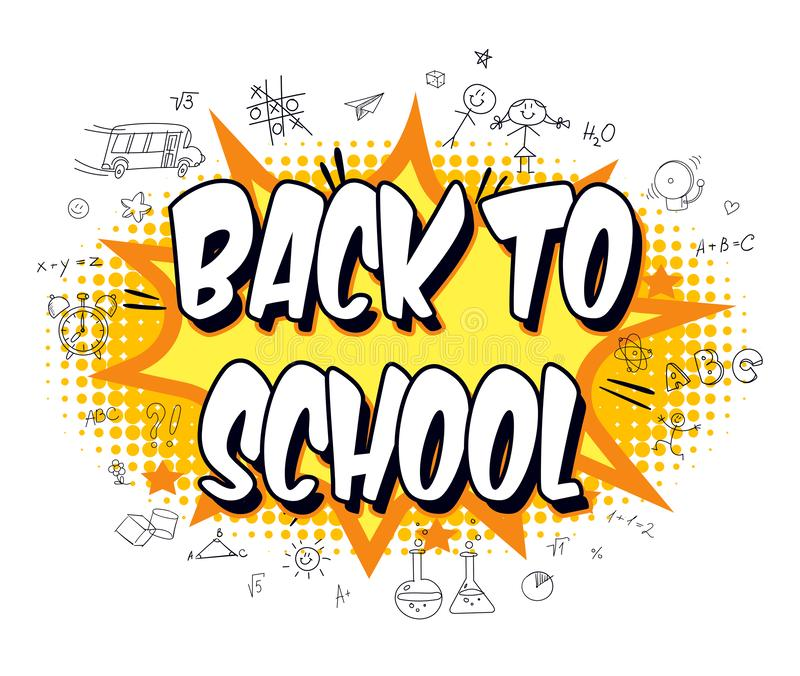 Inscription Back to school. Explosion with comic style. Funny cartoon character. Vector illustration. Isolated on white background royalty free illustration