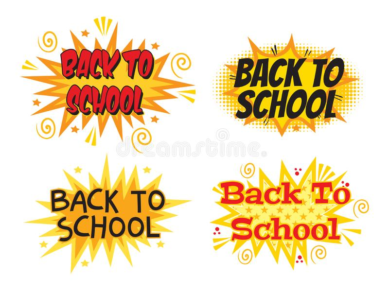 Inscription Back to school. Explosion with comic style. Set. Vector illustration. Isolated on white background stock illustration