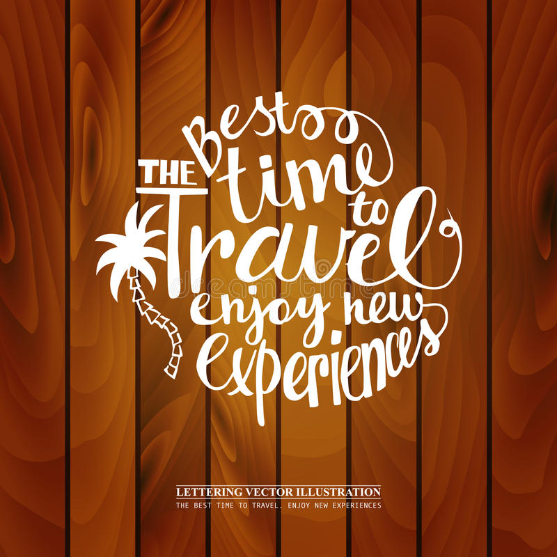 Inscription Best time to travel wooden background vector illustration