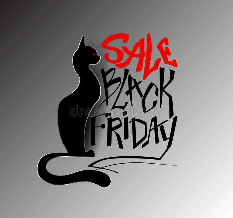 Inscription Black Friday, sale with a black cat in a paper style royalty free stock photography