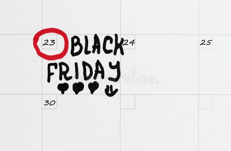 Inscription Black Friday sur le calendrier 2018 image libre de droits