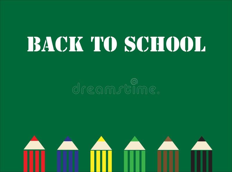 Inscription blanche d'inscription blanche de nouveau à l'école sur le conseil pédagogique avec le crayon coloré illustration stock