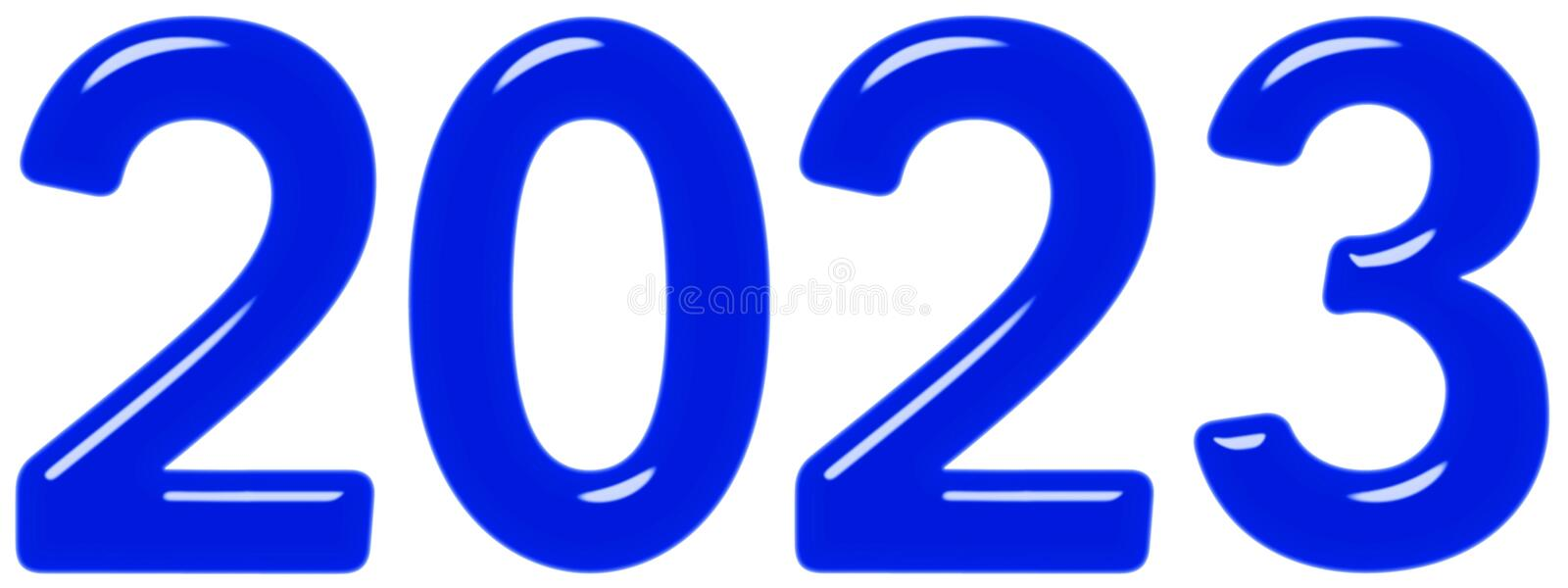 Inscription 2023 from blue glass or plastic, isolated on white background, 3d render royalty free illustration