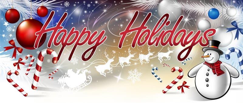Inscription bonnes fêtes avec le bonhomme de neige illustration libre de droits