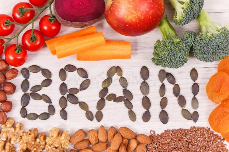 Inscription brain and best nutritious natural food for health and good memory royalty free stock images