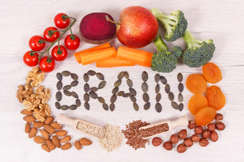 Inscription brain and best nutritious natural food for health and good memory royalty free stock photography
