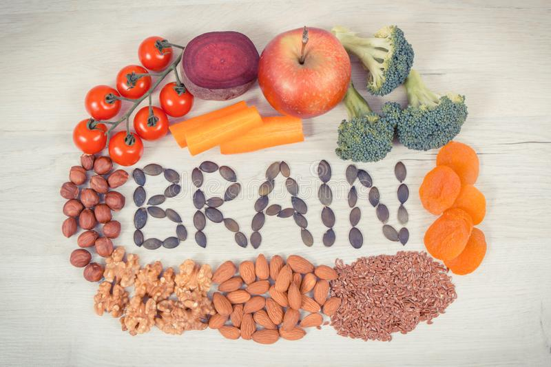 Inscription brain and healthy food for power and good memory, nutritious eating containing natural minerals royalty free stock image