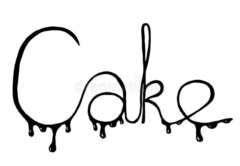 Inscription Cake on white background. stock photo