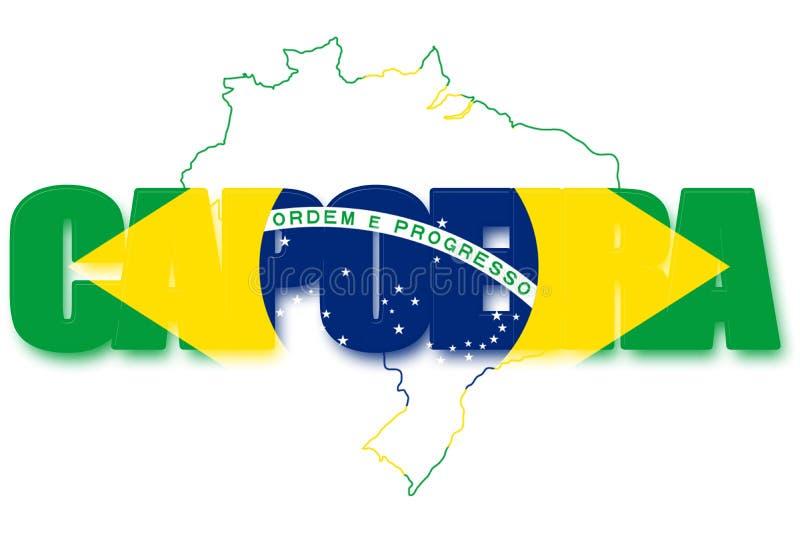 Inscription `Capoeira` with brazilian flag vector illustration