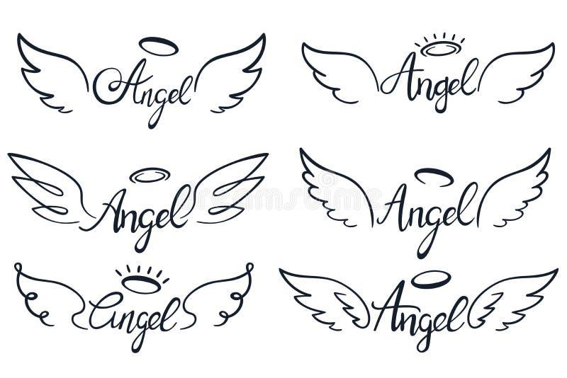 Inscription d'ailes d'ange Aile de ciel, anges à ailes merveilleux et ensemble saint d'illustration de vecteur de croquis d'ailes illustration libre de droits