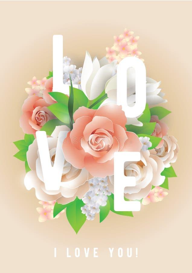 Inscription d'amour Carte de voeux, invitation ou affiche de vecteur Concevez avec des fleurs, des roses, et le texte Utilisable  illustration stock