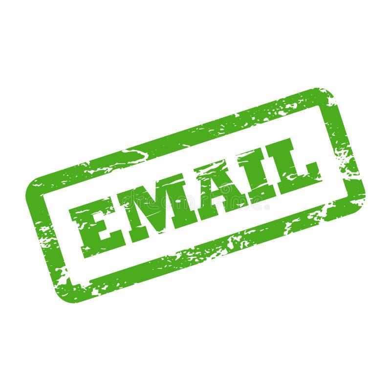 Inscription d'email dans le cadre de rectangle Tampon en caoutchouc vert avec la texture approximative illustration de vecteur
