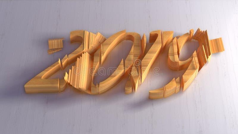 Inscription d'isolement de nombres de la bonne année 2019 écrite par le bois sur le fond blanc illustration 3D image libre de droits